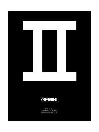 Gemini Zodiac Sign White Sanatsal Reprodüksiyon