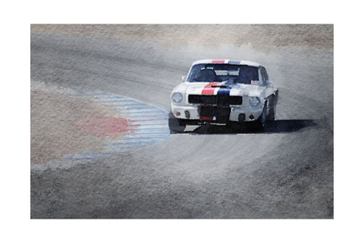 Mustang on Race Track Watercolor Prints by  NaxArt