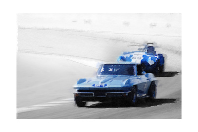 Corvette and AC Cobra Shelby Watercolor Posters by  NaxArt