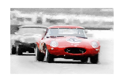 Jaguar E-Type Racing Watercolor Prints by  NaxArt