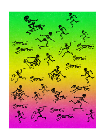 Human and Dog Skeletons Skateboarders and Warriors Metal Print by  Junk Food
