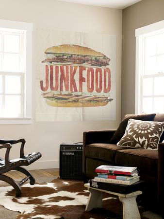 JUNKFOOD Meat Sandwich Wall Mural by  Junk Food