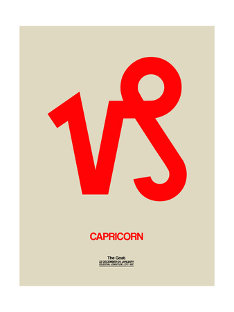 Capricorn Zodiac Sign Red Posters by  NaxArt