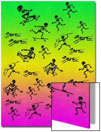 Human and Dog Skeletons Skateboarders and Warriors Art by  Junk Food