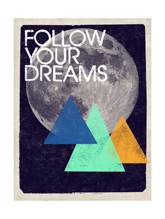 Follow Your Dreams - Moon and Triangles Design Metal Print by  Junk Food