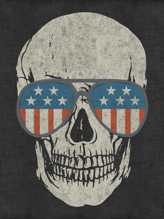 Skull and American Flag Shades Wall Decal by  Junk Food