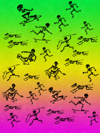 Human and Dog Skeletons Skateboarders and Warriors Wall Decal by  Junk Food