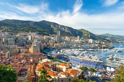 View of Monaco Harbor Prepared for Formula 1 Grand Prix De Monaco Photographic Print by  LiliGraphie