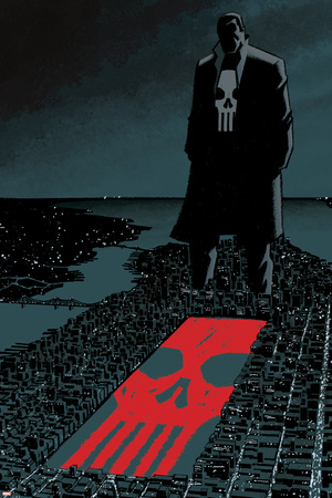 Marvel Extreme Style Guide Punisher white and red skull on ground cemetery scenery Punisher art merchandise