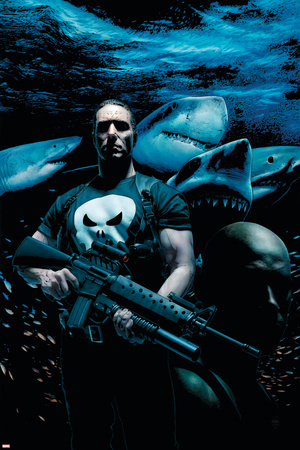 Marvel Extreme Style Guide Frank Castle posing in front of sharks holding an assault rifle Punisher art merchandise