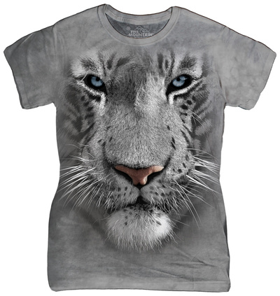 Juniors: White Tiger Face Shirts