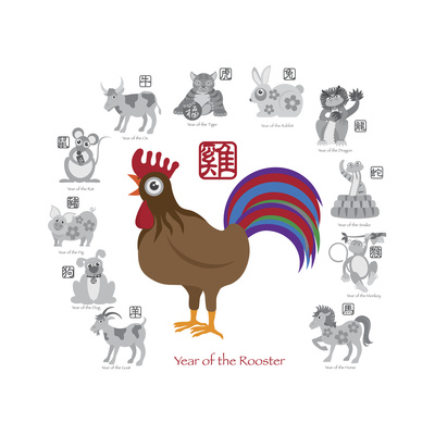 Chinese New Year Rooster Color with Twelve Zodiacs Illustration Art by  jpldesigns