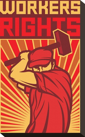 Stylized Workers Rights Poster Stretched Canvas Print