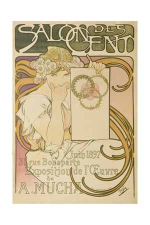 Poster Advertising the 'Salon Des Cent' Mucha Exhibition, 1897 Giclee Print by Alphonse Mucha