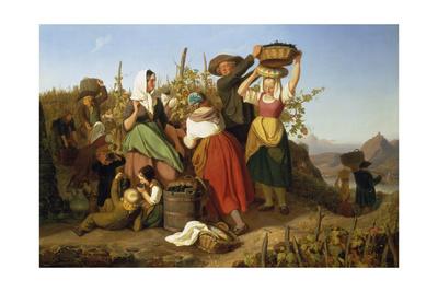 Grape Harvest, 1842 Giclee Print by Adolf Richter