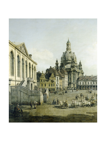 The Neumarkt in Dresden Seen from the Juedenhofe (Detail), 1749 Giclee Print by  Canaletto