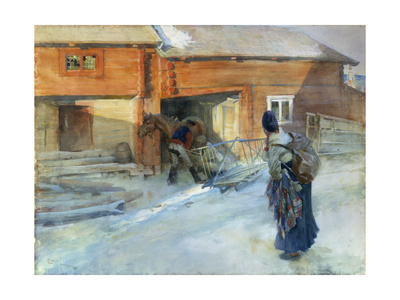 Farm in Winter, Bingsjo Lámina giclée por Carl Hilgers