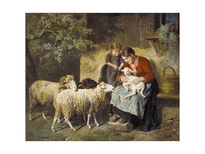 The Pet Lamb Lámina giclée por Adolph Eberle