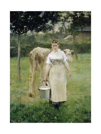 The Farm Maid, 1887 Lámina giclée por Alfred Roll