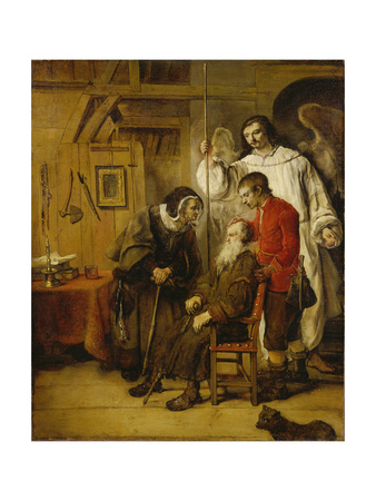 Tobias Curing His Fathers Blindness Giclee Print by Karel van der Pluym