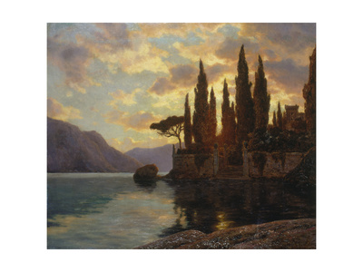 Sunset at an Upper Italian Lake, 1929 Giclee Print by Iwan Choultse