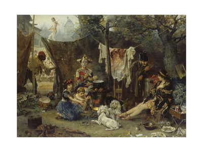 Behind the Curtain, 1880 Giclee Print by Ludwig Knaus
