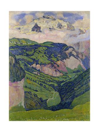 The Jungfrau, View from the Isenfluh, 1902 Gicléetryck av Ferdinand Hodler