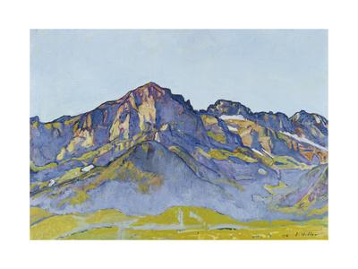 Dents Blanches Near Champéry in the Morning Sun, 1916 Gicléetryck av Ferdinand Hodler