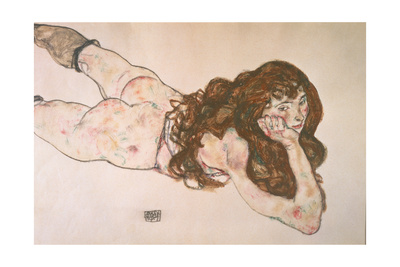 Nude Lying on Her Stomach, 1917 Giclee Print by Egon Schiele