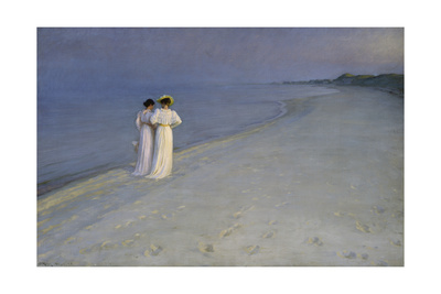Summer Evening at Skagen (Anna Ancher and Marie Kroyer on the Beach at Skagen), 1893 Giclee Print by Peter Severin Kroyer