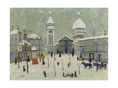 Place Du Tertre in Winter Giclee Print by Louis Vivin