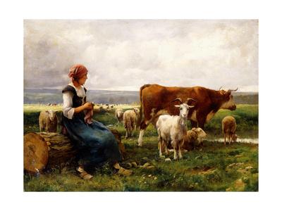 Shepherdess with Cows and Goats Gicléetryck av Julien Dupré