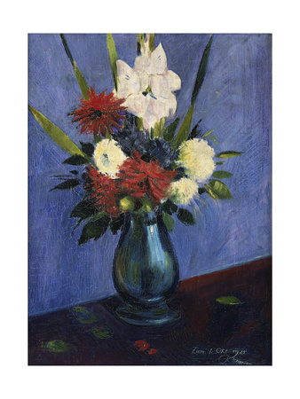Vase with Gladioli and Other Flowers, 1925 Giclee Print by Oskar Schlemmer