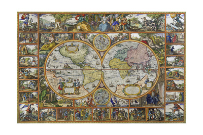 Double Hemisphere World Map, 1617 Giclee Print by  Visscher Claes Jansz