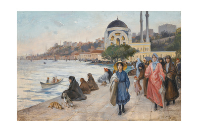 Mafalda on the Banks of the Bosphorus, the Dolmabahce Mosque in the Background Giclee Print by Fausto Zonaro