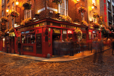 Temple Bar corner photo poster, popular college travel destination