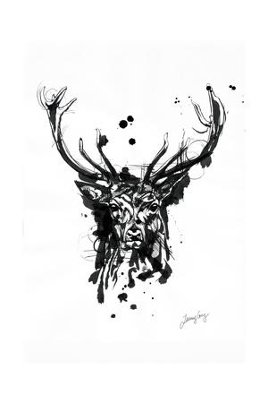 Inked Deer Giclee Print by James Grey