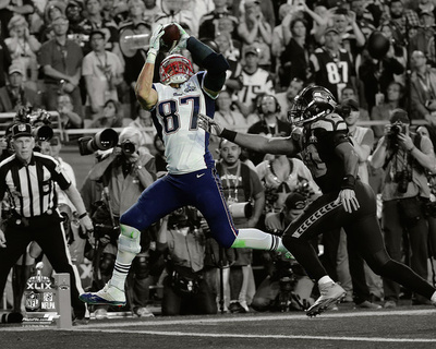 Rob Gronkowski Touchdown Super Bowl XLIX Spotlight Photo