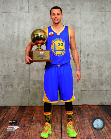 Stephen Curry with the 3-point contest trophy, 2015 NBA All-Star Game basketball sports photo