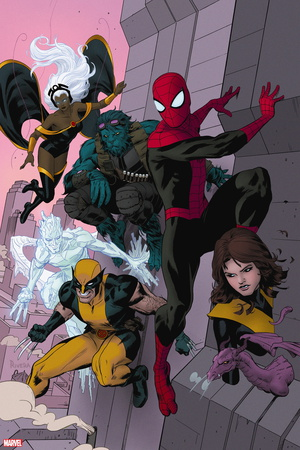 Avenging Spider-Man No. 16: Spider-Man, Storm, Beast, Iceman, Wolverine, Shadowcat, Lockheed Wall Decal