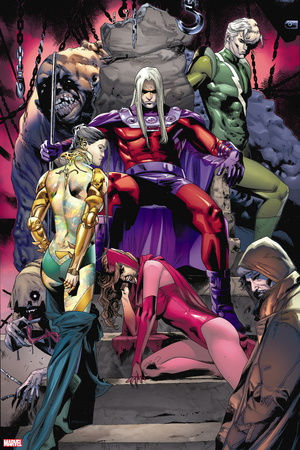 Magneto: Not a Hero No. 1: Joseph, Astra, Scarlet Witch, Quicksilver, Mastermind, Blob, Toad Plastic Sign