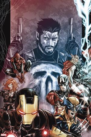 Punisher: War Zone No. 2: Punisher, Iron Man, Wolverine, Captain America, Black Widow, Spider-Man Wall Decal