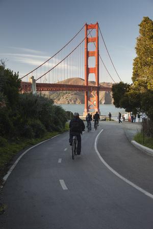 Bicycle Riders Golden Gate Bridge Wall Decal by Henri Silberman