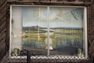 Painting in Window on Macarthur Blvd, Oakland, CA (Seashore Landscape) Wall Decal by Henri Silberman