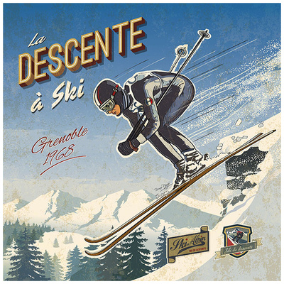 Ski descente Prints by Bruno Pozzo