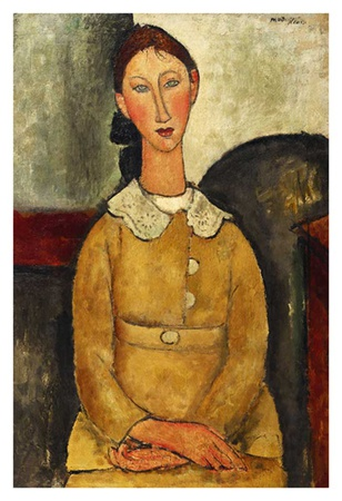 Seated woman with yellow shirt Print by Amedeo Modigliani