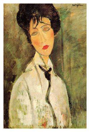 Woman in black tie Poster di Amedeo Modigliani