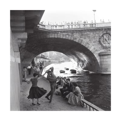 Rock 'n' Roll Dancers on Paris Quays, River Seine, 1950s Print by Paul Almasy