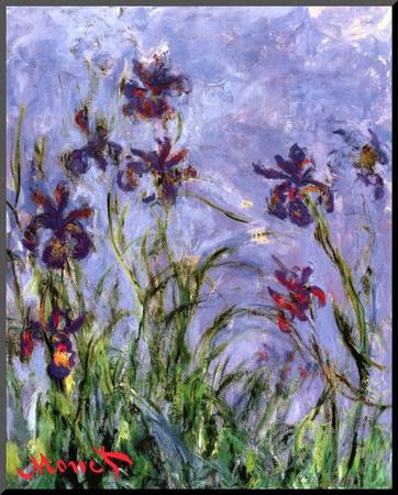 Irises (detail) Mounted Print by Claude Monet