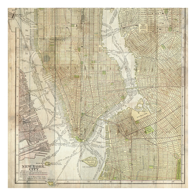 Wooden Map NY Posters by Sheldon Lewis
